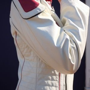 White & Red Leather Jacket